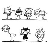 Hand drawing cartoon funny halloween Royalty Free Stock Images