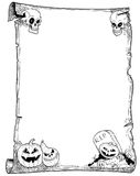 Halloween Frame Scroll with Pumpkins. Hand drawing cartoon Halloween frame scroll with pumpkin illustrations Stock Photos