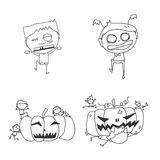 Hand drawing cartoon halloween Royalty Free Stock Images