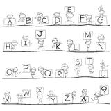 Hand Drawing Cartoon Happiness Alphabet Stock Photography