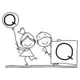 Hand drawing cartoon happiness alphabet C Stock Photos