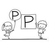 Hand drawing cartoon happiness alphabet C Royalty Free Stock Photography