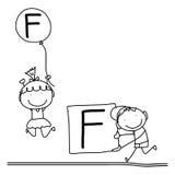 Hand drawing cartoon happiness alphabet C Royalty Free Stock Photos