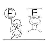 Hand drawing cartoon happiness alphabet C Stock Photo