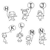 Hand drawing cartoon happiness alphabet Royalty Free Stock Images