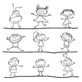 Hand drawing cartoon happiness Stock Photos