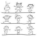 Hand drawing cartoon happiness Stock Photos