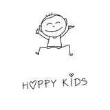 Hand drawing cartoon happiness Royalty Free Stock Image