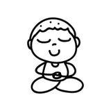 Hand drawing cartoon happy boy mediation Stock Photography