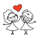 Hand Drawing Cartoon Happy Couple Wedding Royalty Free Stock Photography