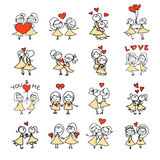 Hand drawing cartoon happy couple wedding Stock Photography