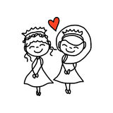 Hand drawing cartoon happy couple wedding Stock Images