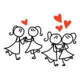 Hand drawing cartoon happy couple wedding Royalty Free Stock Photos