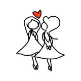 Hand drawing cartoon happy couple wedding Stock Photos