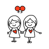 Hand drawing cartoon happy couple wedding Stock Image