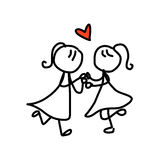 Hand drawing cartoon happy couple wedding royalty free illustration