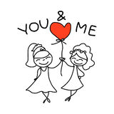 Hand drawing cartoon happy couple wedding Royalty Free Stock Photo
