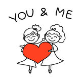 Hand drawing cartoon happy couple wedding Royalty Free Stock Images