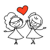 Hand drawing cartoon happy couple wedding Royalty Free Stock Photography