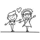 Hand drawing cartoon happy couple wedding Royalty Free Stock Photos