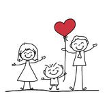 Hand drawing cartoon happy family Royalty Free Stock Images