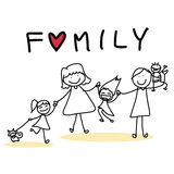 Hand drawing cartoon happy family Stock Images