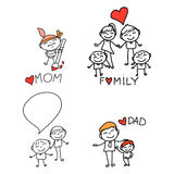Hand drawing cartoon happy family Royalty Free Stock Photo