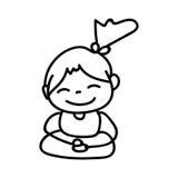 Hand drawing cartoon happy girl mediation Stock Image