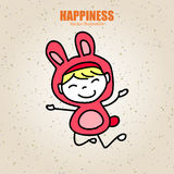 Hand drawing cartoon happy kid Royalty Free Stock Images
