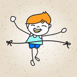 Hand drawing cartoon happy kid running marathon Royalty Free Stock Photos