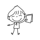 Hand drawing cartoon happy kids Stock Image