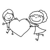 Hand drawing cartoon happy kids royalty free illustration