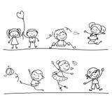 Hand drawing cartoon happy kids Stock Photography