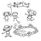 Hand drawing cartoon happy kids Royalty Free Stock Photo