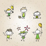 Hand drawing cartoon happy kids Stock Photos