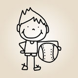 Hand drawing cartoon happy kids Royalty Free Stock Image