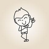 Hand drawing cartoon happy kids Royalty Free Stock Photos