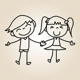 Hand drawing cartoon happy kids Stock Images
