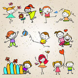 Hand drawing cartoon happy kids playing Royalty Free Stock Photo
