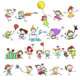 Hand drawing cartoon happy kids playing Stock Photos
