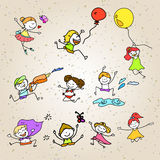 Hand drawing cartoon happy kids playing Stock Images