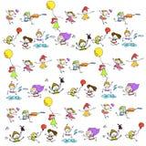 Hand drawing cartoon happy kids playing Royalty Free Stock Photos