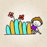 Hand drawing cartoon happy kids playing Royalty Free Stock Image