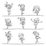 Hand drawing cartoon happy kids running marathon Stock Image
