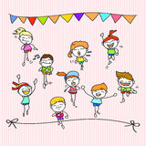 Hand drawing cartoon happy kids running marathon Royalty Free Stock Image