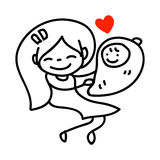 Hand drawing cartoon happy mommy with baby Stock Photos