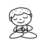 Hand drawing cartoon happy monk mediation Royalty Free Stock Photo