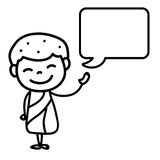 Hand drawing cartoon happy monk Stock Images