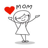 Hand drawing cartoon happy mother's day Stock Images