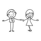 Hand drawing cartoon happy people Stock Photos